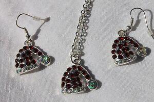 Christmas-Holiday-Necklace-amp-Earring-Set-Santa-Hats-1-set