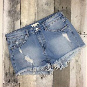 H-amp-M-Denim-Cut-Off-Shorts-Size-US-6-Light-Wash-Distressed-Frayed-Jean-Shorts-Boho