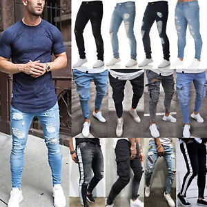 Mens-Ripped-Biker-Slim-Skinny-Jeans-Frayed-Destroyed-Trousers-Casual-Denim-Pants