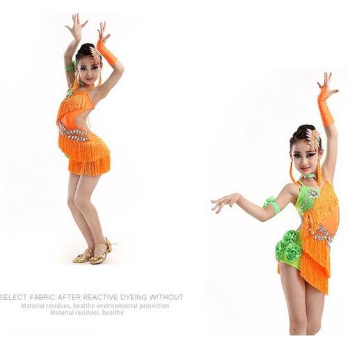 Girls Kids Party Dancewear Costumes Tassel Latin dancing Dress+Headwear Earring