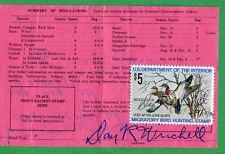 INDIANA 1974 Resident Hunting, Fishing & Trapping License RW41 Duck Stamp - 358