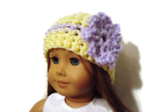 Crochet-Hat-Fits-American-Girl-Dolls-18-034-Doll-Clothes-Yellow-w-Lavender-Flower
