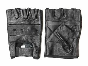 Fingerless-Leather-Gloves-Black-Mens-Lightweight-Heavy-Duty-Bikers-Work-Gloves