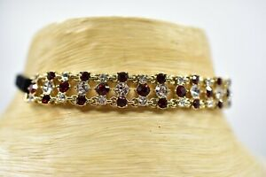 Givenchy-Signed-Choker-Necklace-Vintage-Red-Rhinestone-Crystal-Black-Velvet-BinI
