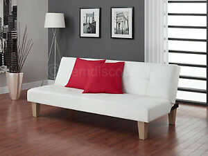 Tufted White Leather Futon Folding Recliner Couch Sofa Bed Convertible Sleeper