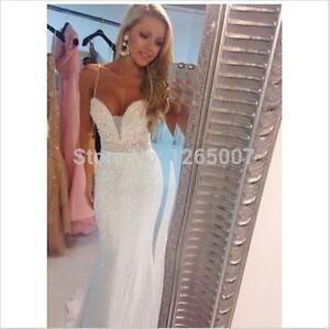 Sparkly spaghetti straps whiteivory wedding dress mermaid beaded image is loading sparkly spaghetti straps white ivory wedding dress mermaid junglespirit Image collections