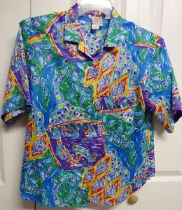 Tan-F-Jay-Blouse-Size-M-Bright-Multi-Color