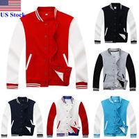 US Men Fashion Varsity Jacket College University Letterman Baseball Coat Outfits