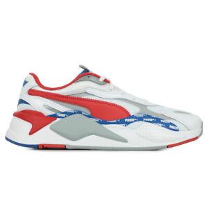 Détails sur Chaussures Baskets Puma homme RS-X3 Logo taille Blanc Blanche Cuir Lacets