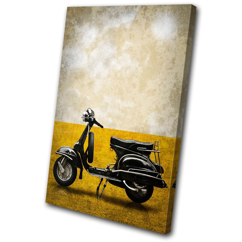 Transportation Vintage Scooter SINGLE TOILE murale ART Photo Print