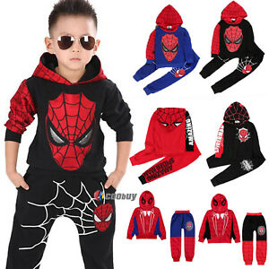 Kids-Boys-Spiderman-Tracksuit-Hooded-Sweatshirt-Tops-Coat-Pants-Trouser-Outfits