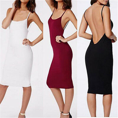 Women Casual Camisole Long Tank TOP Spaghetti Strap Basic Slip Mini Party Dress