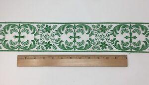 Orphrey-Croce-Verde-su-Bianco-Casula-Bendaggio-8-3cm-Larghezza-Venduto-da-Campo