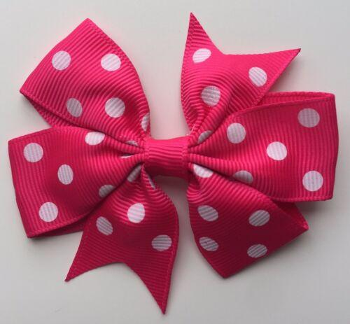 "Polka Dot Hair Bows 3/"" Grosgrain Bows on Clips"