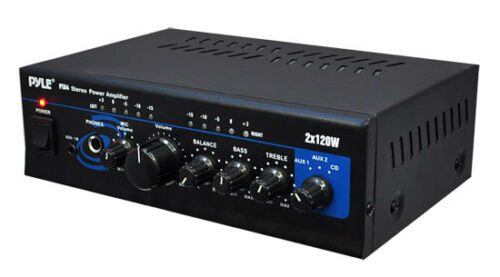New Pyle PTA4 Mini 2x120 Watt Stereo Power Amplifier w// AUX//CD Input Amp