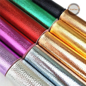 Metallic-Litchi-Vinyl-Foil-Faux-Leather-Fabric-Sheets-Roll-For-Earring-Bag-Craft