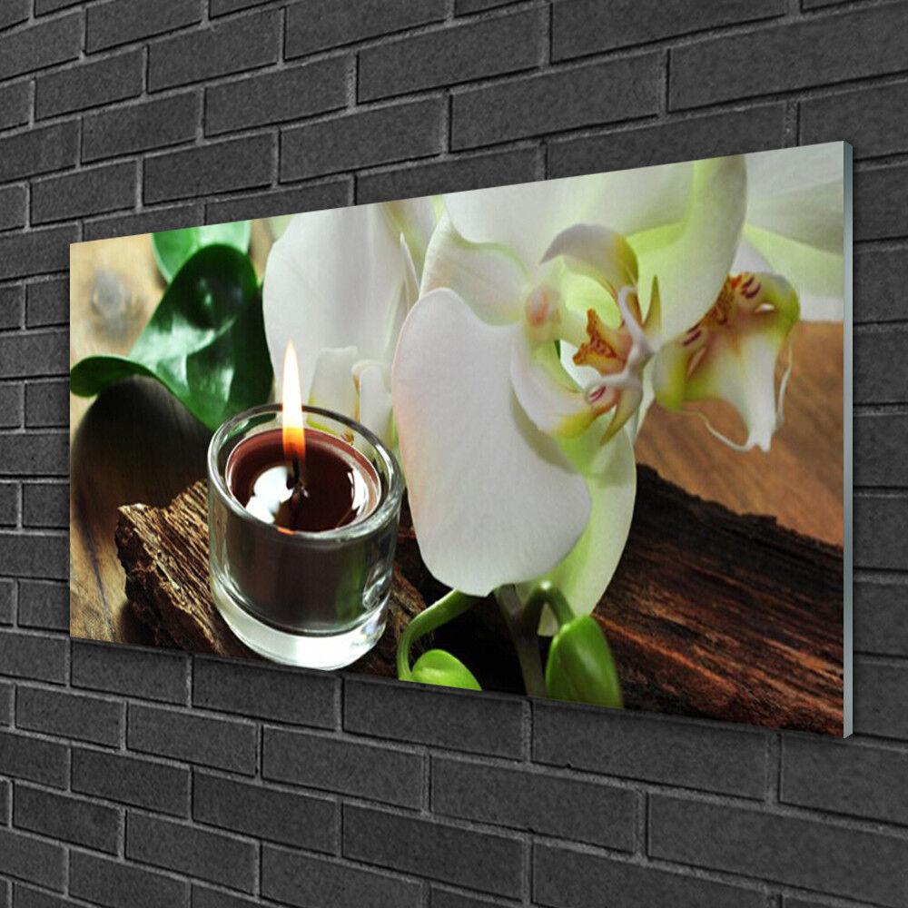 Tableau sur verre Image Impression 100x50 Floral Bougie Fleur