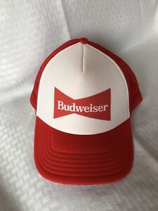 8811d479c4dac Image is loading Budweiser-Red-amp-White-beer-truckers-Hat-Snapback-