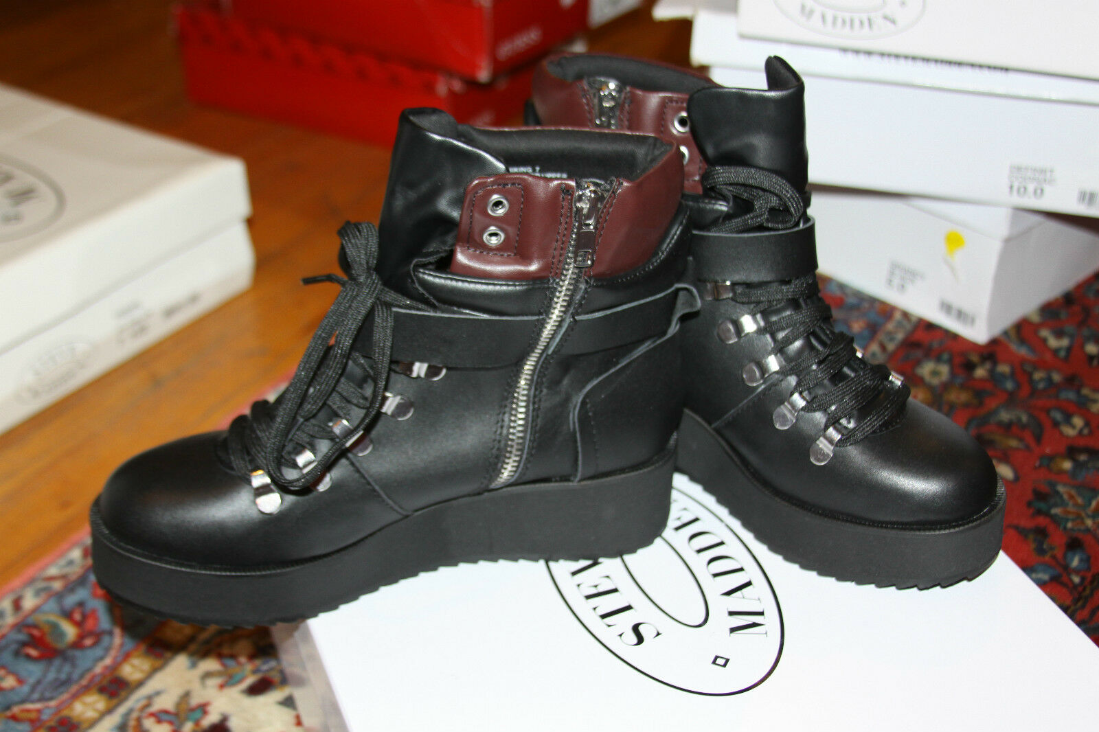 Steve Madden  Womens Hiking Boot Boot Boot Black Leather SZ 6 85156a