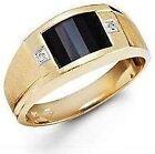 New 10k Solid Yellow Gold Black Onyx Round Diamond Ring