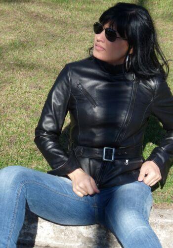 S Handmade 651650724589 Italian Lambskin Women Slim Biker Leather Fit Chiodo Black Jacket 1ddvfqw