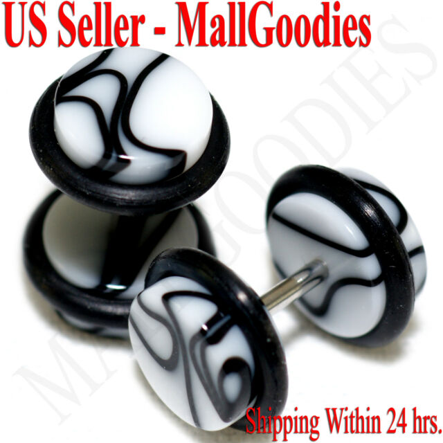 2015 White Marble Fake Cheater Illusion Faux Ear Plugs 16G Bar 0G = 8mm - 2pcs