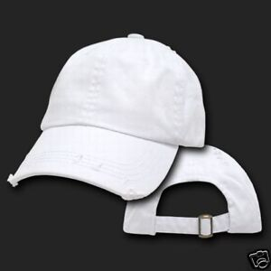 eb675fc1 Details about White Vintage Distressed Retro Low Profile Polo Baseball Cap  Caps Dad Hat Hats