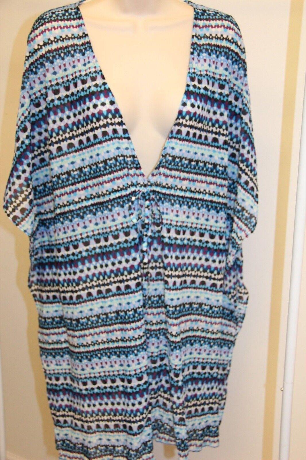 NWT Profile Swimsuit Bikini Cover up Tunic Dress Sz L Multi bluee
