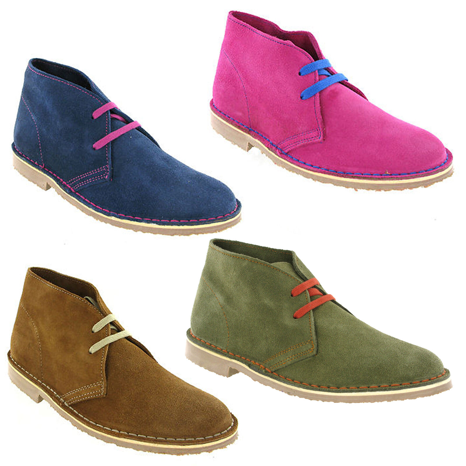 Suede Desert Boots Classic Original Leather Womens Comfort Fit shoes Size 3-9