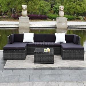 7PCS Rattan Outdoor Patio Sofa Set Sectional Garden Furniture Set ...