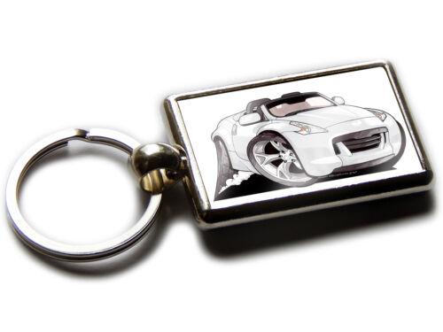 NISSAN 370Z Sports Car Koolart Chrome Keyring Picture Both Sides