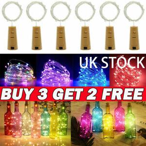 UK Wine Bottle Fairy String Lights 20 LED Battery Cork For Party Christmas Xmas