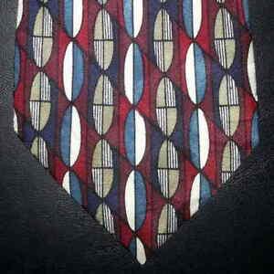 Mallory-amp-Church-Tie-Silk-Red-Teal-White-Navy-Blue-Tan-Design-NIB-t2251