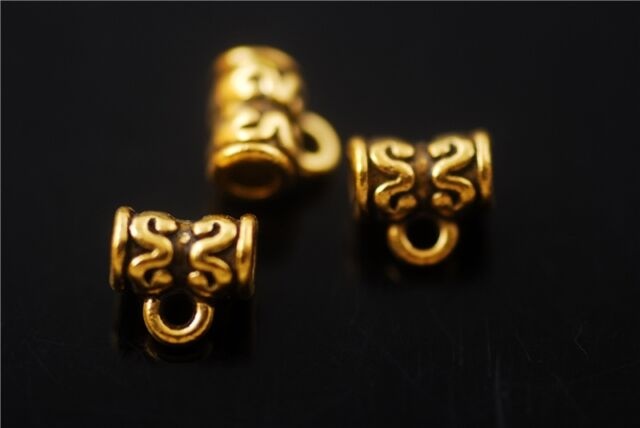 Bulk Golden Bails Connectors Holder Clasps Craft Jewelry Findings 7x6.5mm Charms