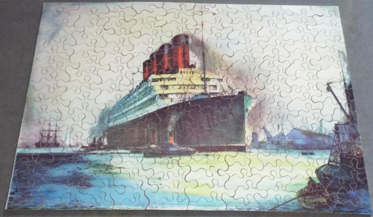 RMS Aquitania Cunard Liner - Vintage 1920's Chad Valley Wooden Jigsaw Puzzle