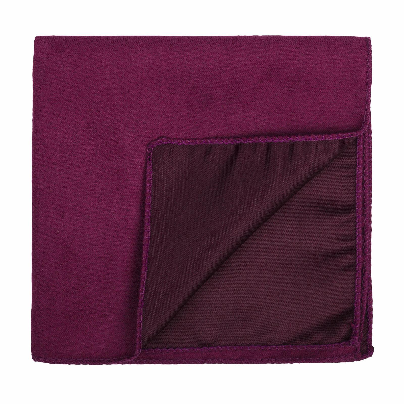 UK Red Velvet Suede Pocket Square Plain Wedding Handkerchief Multiple Colours