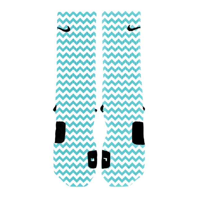 Custom Chevron Turquoise Nike Elite Socks