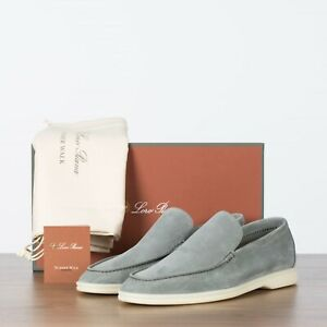 LORO-PIANA-825-NEW-Men-039-s-Summer-Walk-Casual-Moccasin-Gull-Gray-Suede