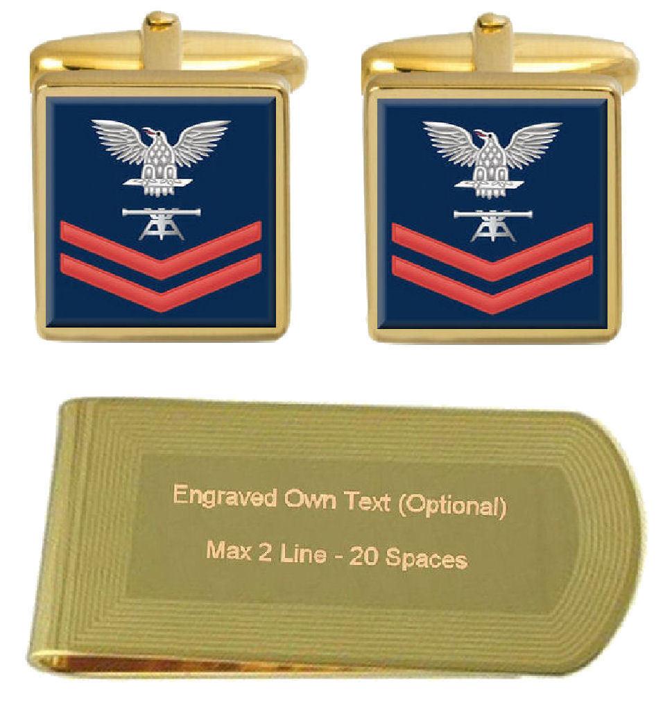 Gemelli inciso Money Clip U.S Navy Navy Navy rosso E-5 Fire Control tecnico FT e89cc1