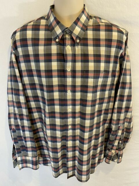 Billy Reid Mens XL Standard Cut Plaid Button Down Long Sleeve Thin Cotton Shirt