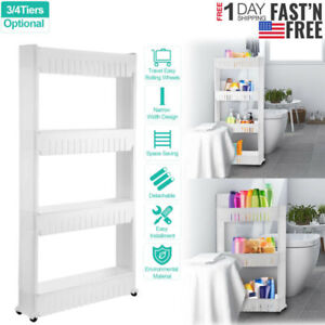 Details about Narrow Space Shelf Slim Storage Cart Laundry Room Organizer  Kitchen Storage Unit