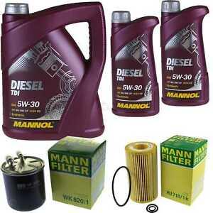 Motor-Ol-7L-MANNOL-Diesel-TDI-5W-30-MANN-FILTER-Mercedes-C-Klasse-S203-C-220-CDI