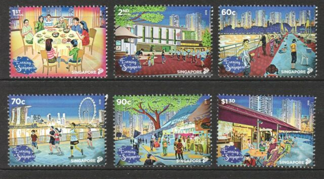 SINGAPORE 2018 NATIONAL DAY EVENING IN SINGAPORE COMP. SET OF 6 STAMPS IN MINT