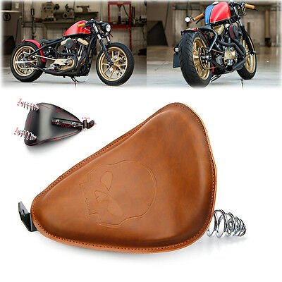 """Brown Leather 3"""" Motorcycle Springs Solo Bracket Skull Driver Seat For Harley"""