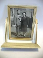 Vtg Decorative Picture Wooden Frame Display Stand tilting rotating Off White 40s