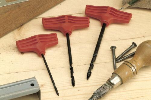 Linic UK Made Set of 3 4mm Twist Gimlet Screw Awl Wood Boring Hole Making W8049