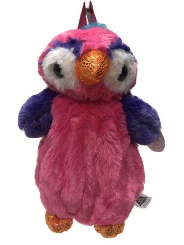 Girls Plush Sparkle Pink Owl Super Soft Backpack
