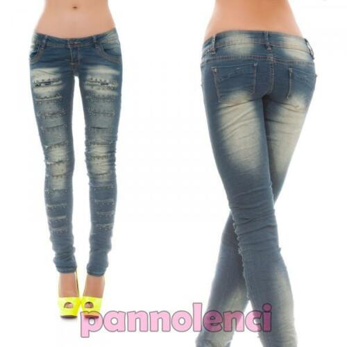 Jeans donna pantaloni skinny ripped tagli pizzo pois BORCHIE strass nuovi 9485