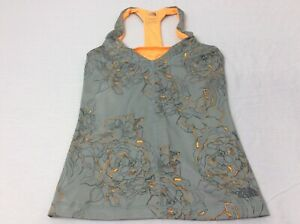 The-North-Face-Gray-amp-Orange-Flowers-Womens-Small-Built-In-Bra-Tank-Top-EUC