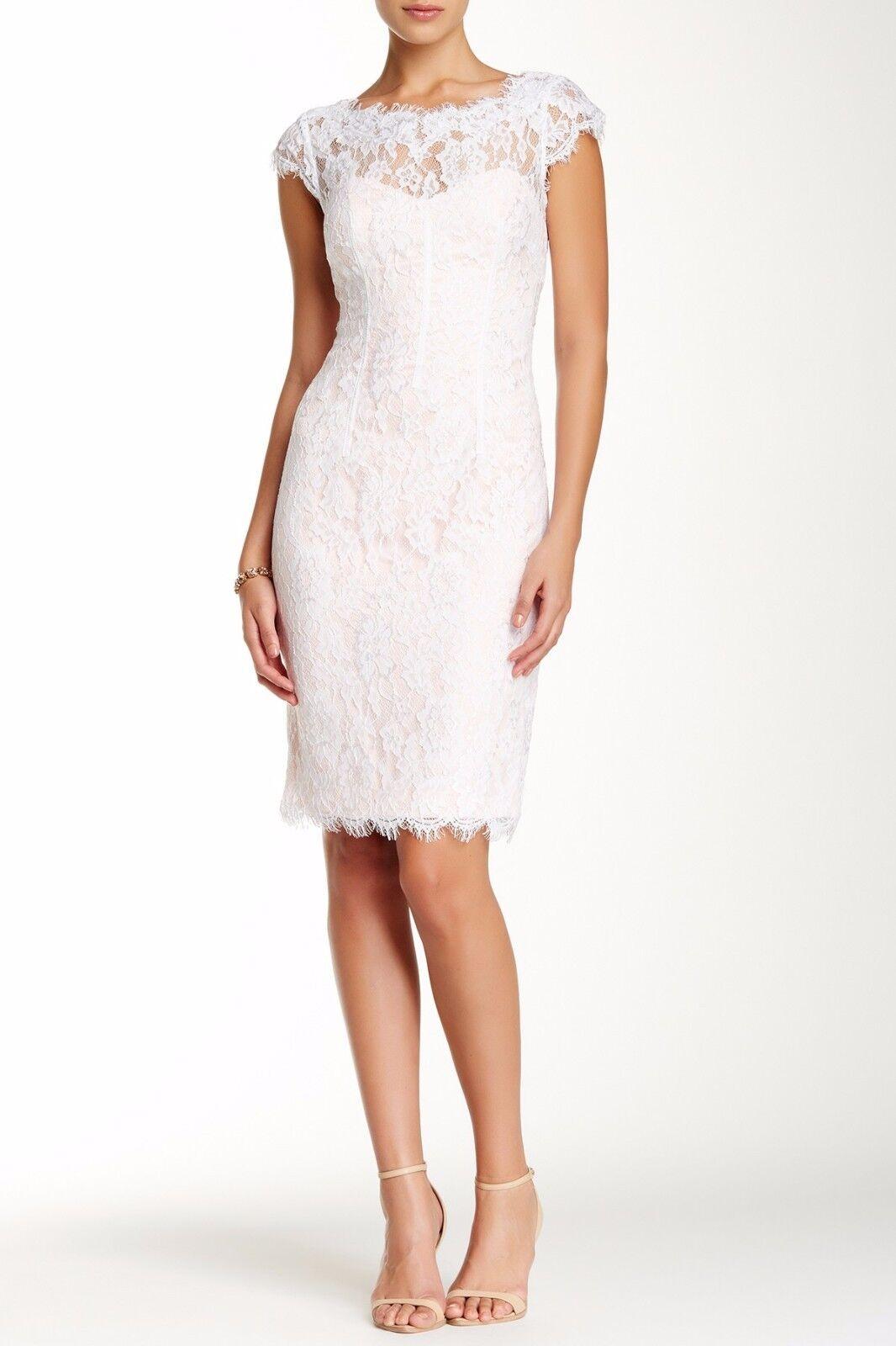 ML Monique Lhuillier White Petal Peak-a-Boo Lace Dress Size 10 12  NWT
